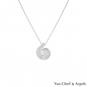 Van Cleef & Arpels White Gold Diamond Shell Necklace